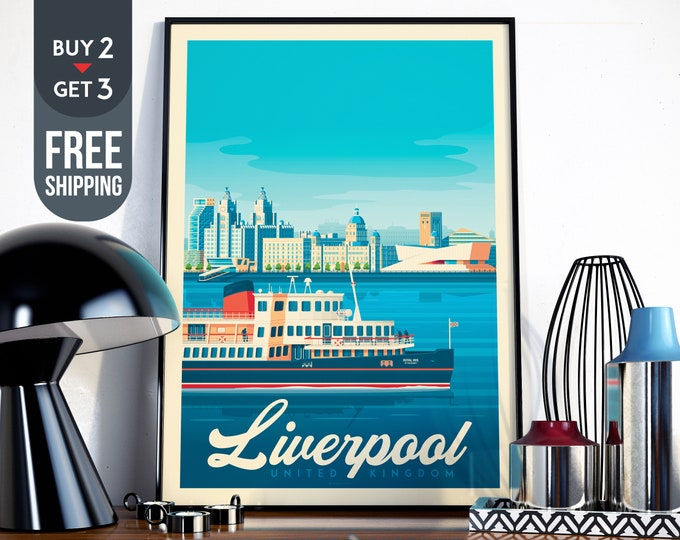 Liverpool UK Travel Poster Liverpool England vintage print, England vintage print, UK wall art, home decor, UK wall decor, gift idea