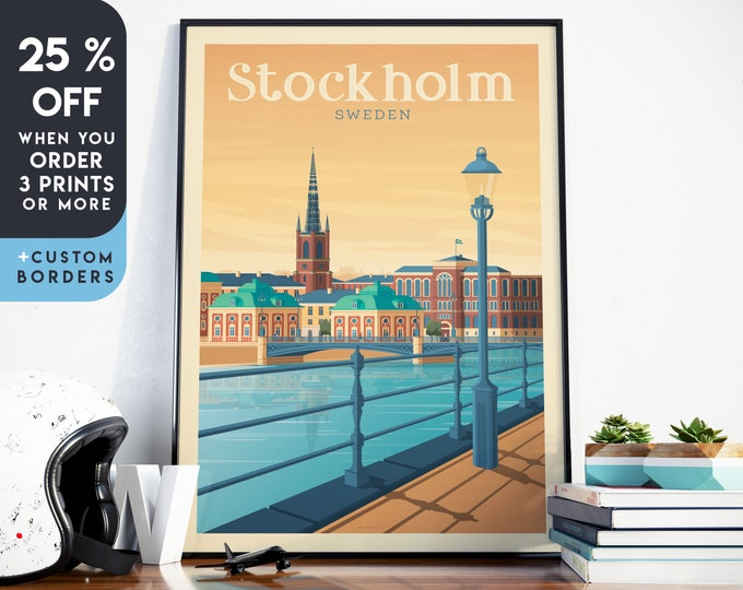 Stockholm Print | Stockholm Vintage Travel Poster | Sweden Print | Stockholm Poster | Sweden Poster | Skyline Wall Art | Home Decor | Gift