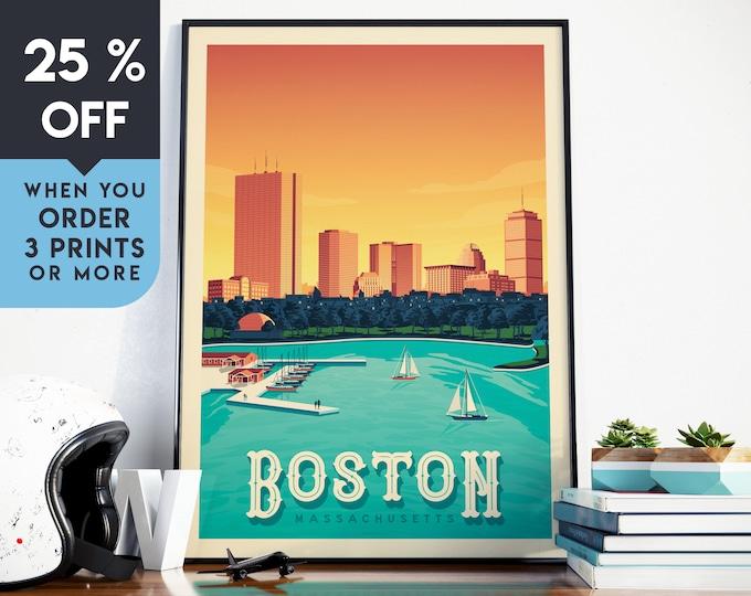 Boston Vintage Travel Poster, Wall Art Print, Minimalist, City Skyline, World Map Art, Cityscape Sunset Boat illustration, Home Decor, Gift