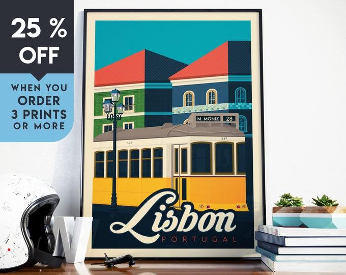 Lisbon Portugal Vintage Travel Poster, Wall Art Print, Minimalist, City Skyline, World Map Art, Cityscape illustration, Home Decor, Gift