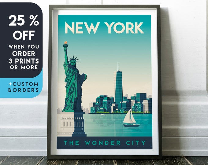 New York Print | New York Vintage Travel Poster | United States Print | New York Poster | City Skyline Wall Art | Home Decor | Gift