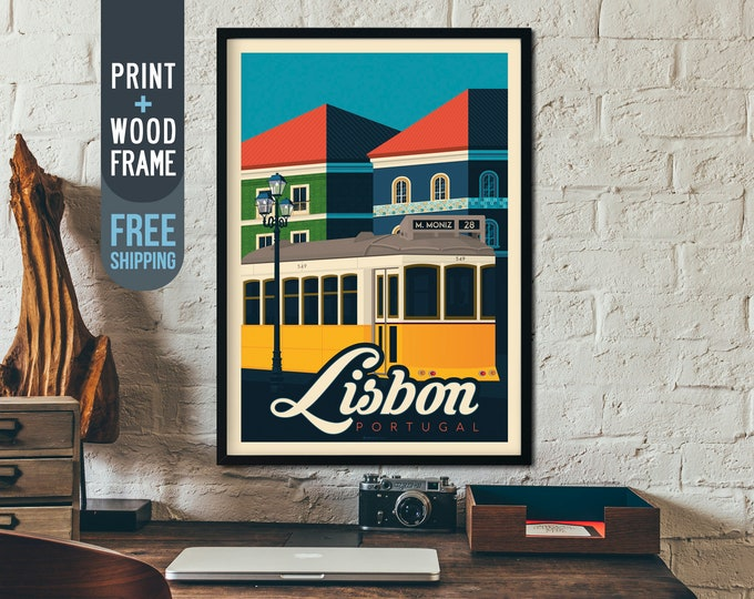 Lisbon Portugal Framed Poster - Vintage Travel Poster, vintage print, skyline, wall art, home decoration, wall decoration, gift idea