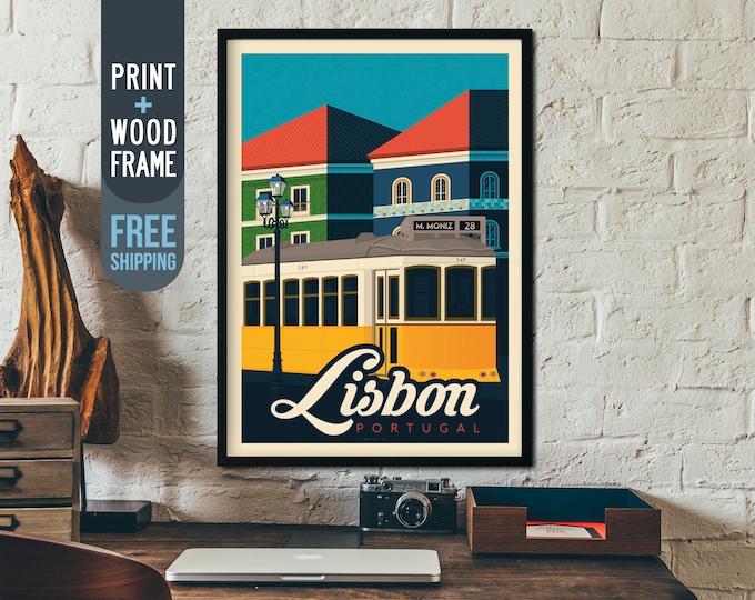 Lisbon Portugal Framed Poster - Vintage Travel Poster, vintage print, skyline, wall art, home decoration, wall decoration, gift idea