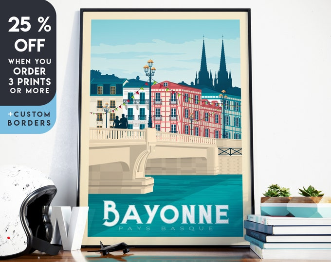 Bayonne Print | Bayonne Vintage Travel Poster | France Print | Bayonne Poster | France Poster | City Skyline Wall Art | Home Decor | Gift