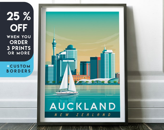 Auckland Print | Auckland Vintage Travel Poster | New Zealand Print | Auckland Poster | City Poster | Skyline Wall Art | Home Decor | Gift