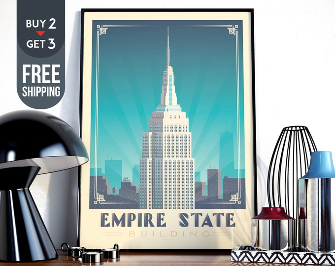 New York City  Travel Poster, New York Empire State Building vintage print, USA wall art, NYC decor, wall decoration, usa Travel decor