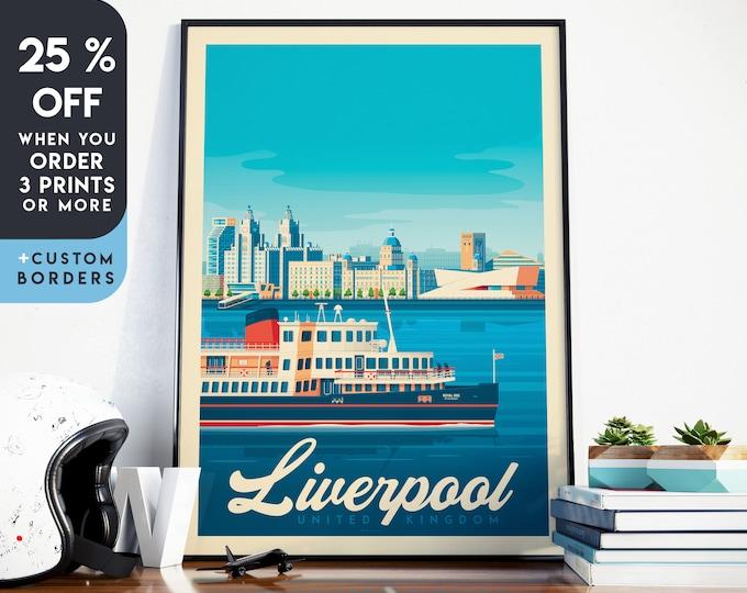 Liverpool Print | Liverpool Vintage Travel Poster | England Print | UK Poster | Liverpool Poster | City Skyline Wall Art | Home Decor | Gift