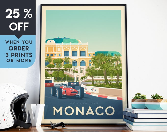 Monaco France Vintage Travel Poster, Wall Art Print, Minimalist, City Skyline, World Map Art, Cityscape Car illustration, Home Decor, Gift