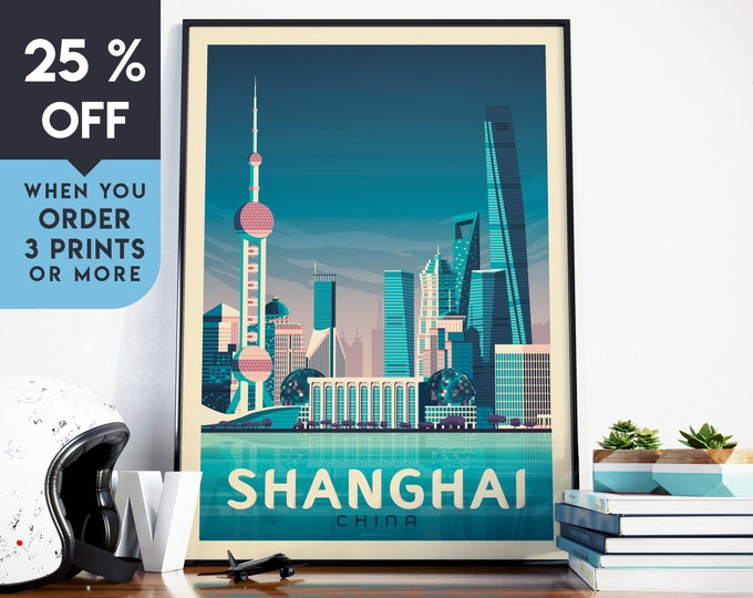 Shanghai China Asia Vintage Travel Poster, Wall Art Print, Minimalist, City Skyline, World Map Art, Cityscape illustration, Home Decor, Gift