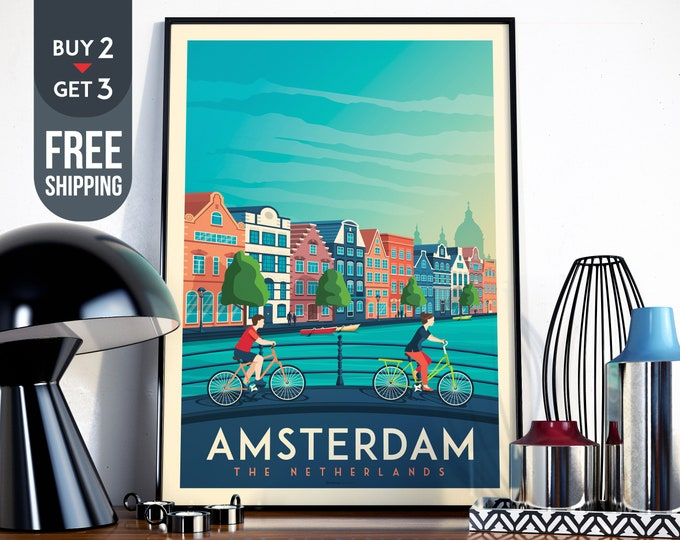 Amsterdam Netherlands Print - Amsterdam Travel Poster, Amsterdam print, wall art, home decoration, Amsterdam city illustration, Holland map