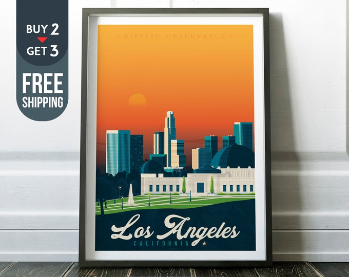 Los Angeles California USA Print - Los Angeles Vintage travel Poster, USA vintage print, Los Angeles wall art decor, Travel decor, gift idea
