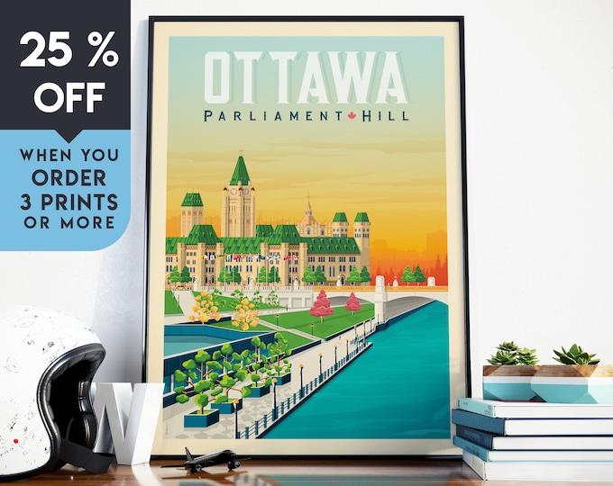 Ottawa Canada Vintage Travel Poster, Wall Art Print, Minimalist, City Skyline, World Map Art, Cityscape illustration, Home Decor, Gift