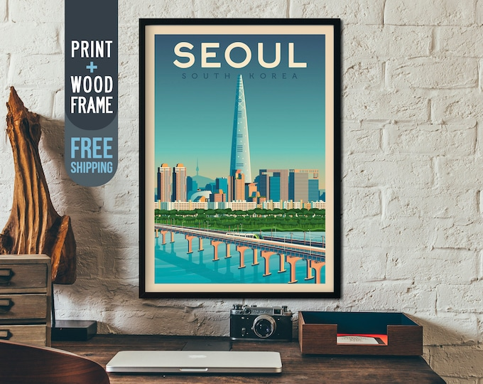 Seoul South Korea Poster - Asia Travel Poster, Seoul framed poster, wall art, home decoration, wall decoration, gift idea, retro print