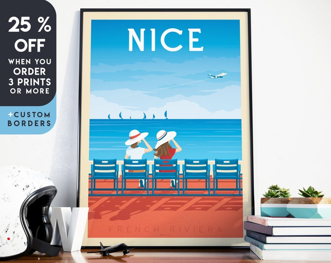 Nice Print | Nice Provence Vintage Travel Poster | France Print | Nice Poster | France Poster | City Skyline Wall Art | Home Decor | Gift