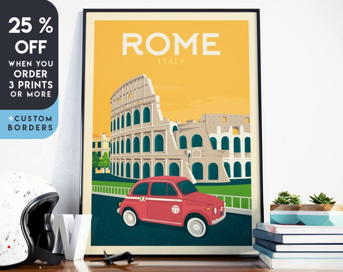Rome Print | Rome Vintage Travel Poster | Italy Print | Rome Poster | Italy Poster | City Skyline Wall Art | Home Decor | Gift