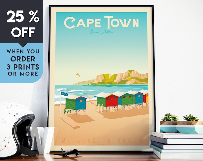 Cape Town Vintage Travel Poster, Wall Art Print, Minimalist, City Skyline, World Map Art, Beach Tropical illustration, Home Decor, Gift Idea