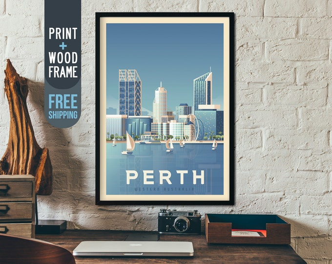 Perth Australia Vintage Travel Poster, Perth framed poster, Perth Australia wall art, home wall decoration, Australia gift idea