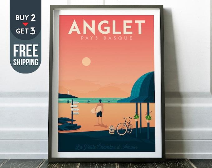 Anglet Vintage Travel Poster, vintage print, Surf wall art print, home decoration, art deco print, France travel decoration, beach poster,
