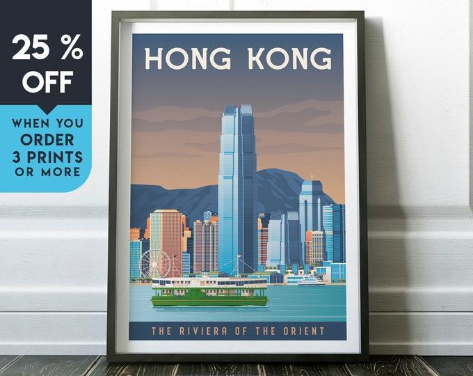 Hong Kong China Vintage Travel Poster, Wall Art Print, Minimalist, City Skyline, Map Art, Cityscape Asia illustration, Home Decor, Gift