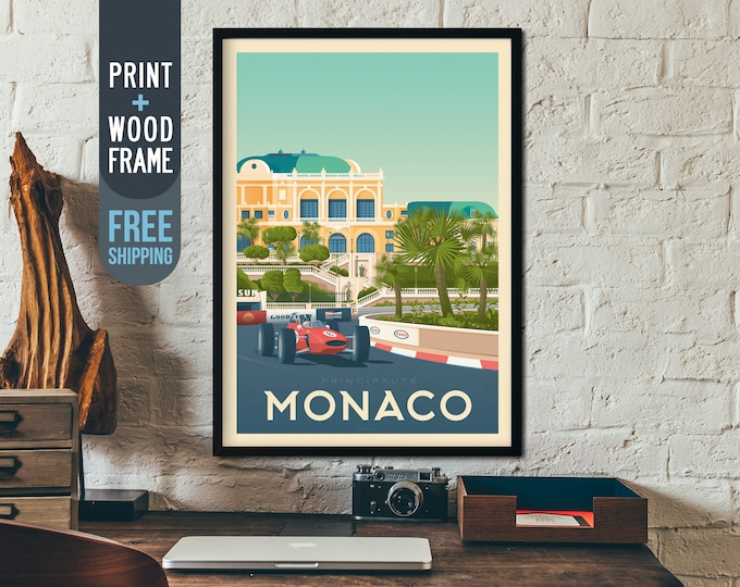 Monaco France Travel Poster - Monte Carlo skyline print, vintage race car wall art, French Riviera racing home decor art deco, framed poster