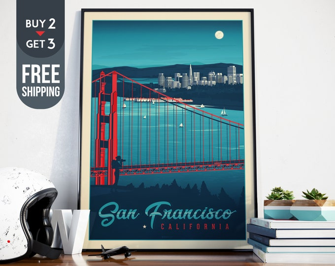San Francisco Vintage Travel Poster, California vintage print, USA wall art print, Usa home decor, San Francisco decor, USA vintage Poster