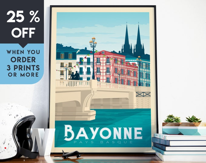 Bayonne France Vintage Travel Poster, Wall Art Print, Minimalist, City Skyline, World Map Art, Cityscape illustration, Home Decor, Gift