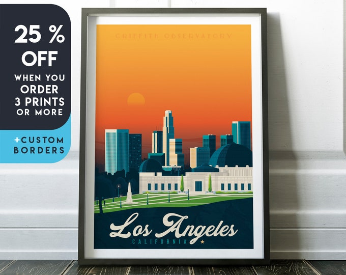 Los Angeles Print | Los Angeles Vintage Travel Poster | California Print | California Poster | City Skyline Wall Art | Home Decor | Gift