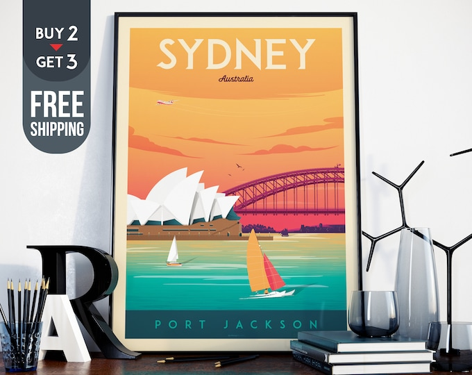Sydney Opera House Print - Sydney Vintage Travel Poster, vintage print, wall art, home decor, sailing wall decor, Australia vintage print