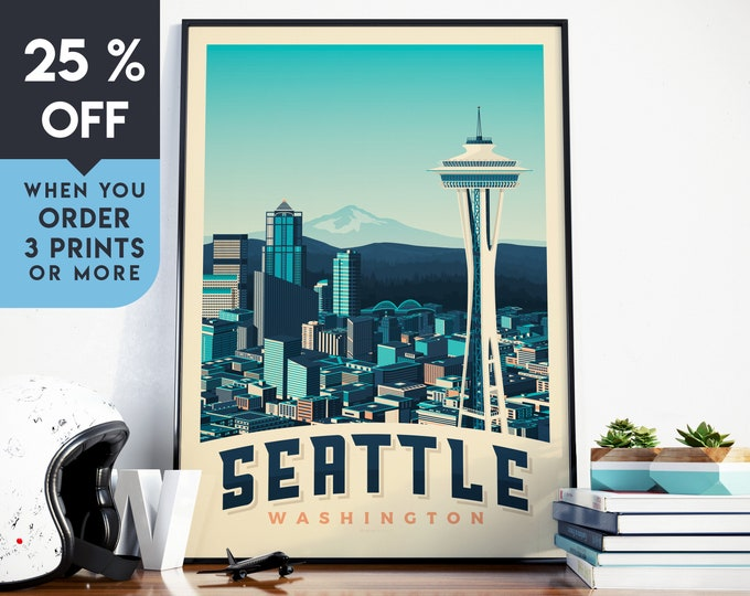 Seattle USA Vintage Travel Poster, Wall Art Print, Minimalist, City Skyline, World Map Art, Mountain Forest illustration, Home Decor, Gift