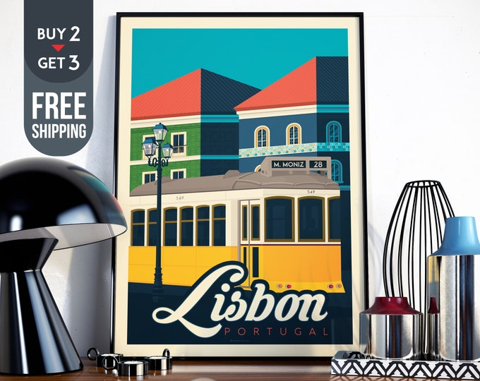 Lisbon Portugal Vintage Travel Poster, Lisbon art print, Lisbon wall art, city map illustration retro home decor, wall decoration, gift idea