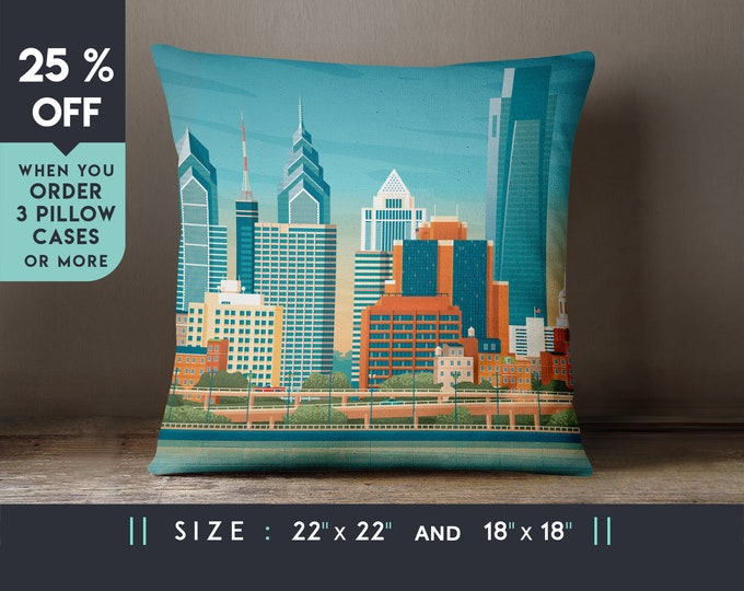 Philadelphia USA Pillow Case [22x22], Cushion, Travel Art Print, Geometry Minimalist, City Skyline, Cityscape illustration, Decor Gift