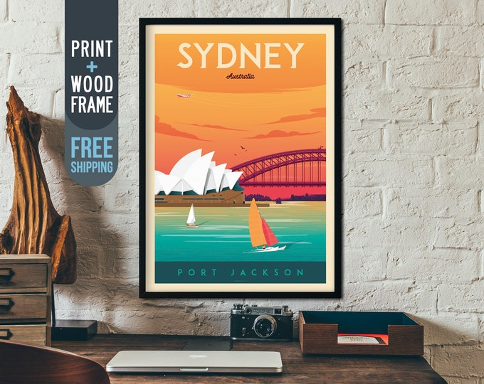 Sydney Australia Vintage Travel Poster, Sydney Skyline framed poster, Australia wall art, Sydney home decoration, gift idea, retro print