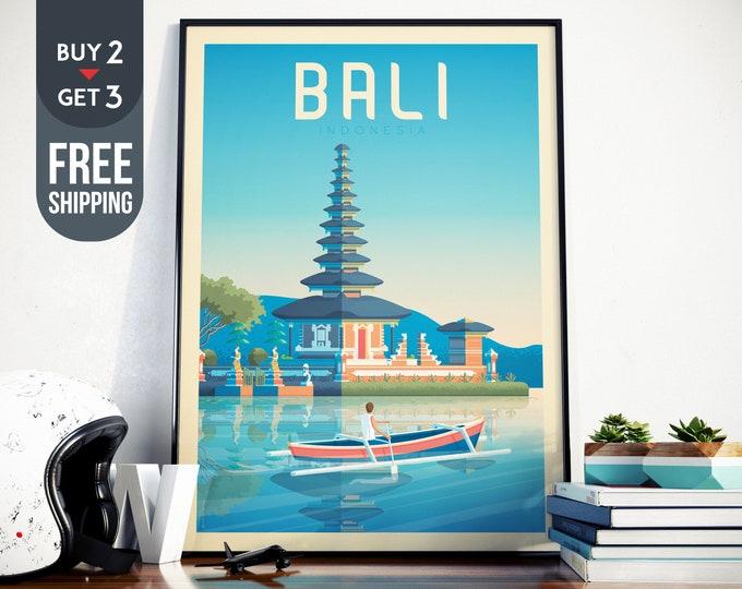 Bali Indonesia Asia Vintage Travel Poster, Bali Indonesia vintage print, Bali asia wall art, home decor, Bali skyline, Bali Asia decor gift