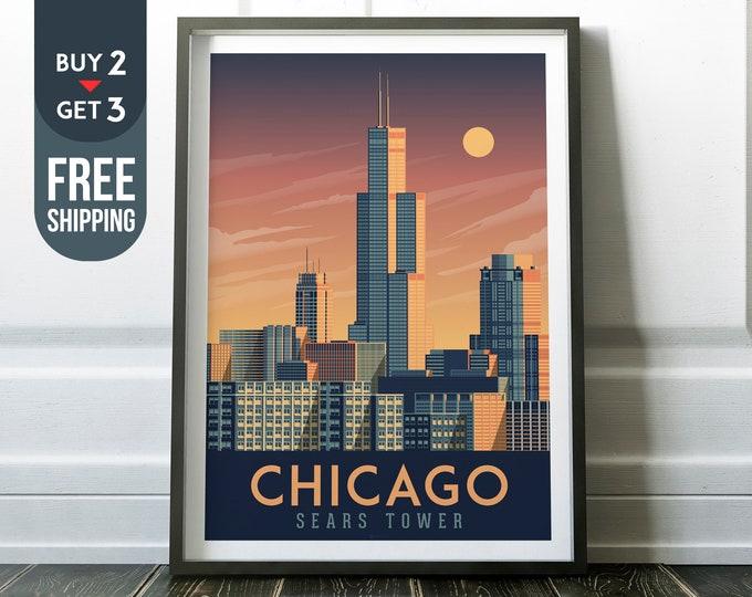 Chicago Sears Tower USA Vintage Travel Poster, vintage usa print, usa wall art, home decoration, wall decoration, USA Travel Decor