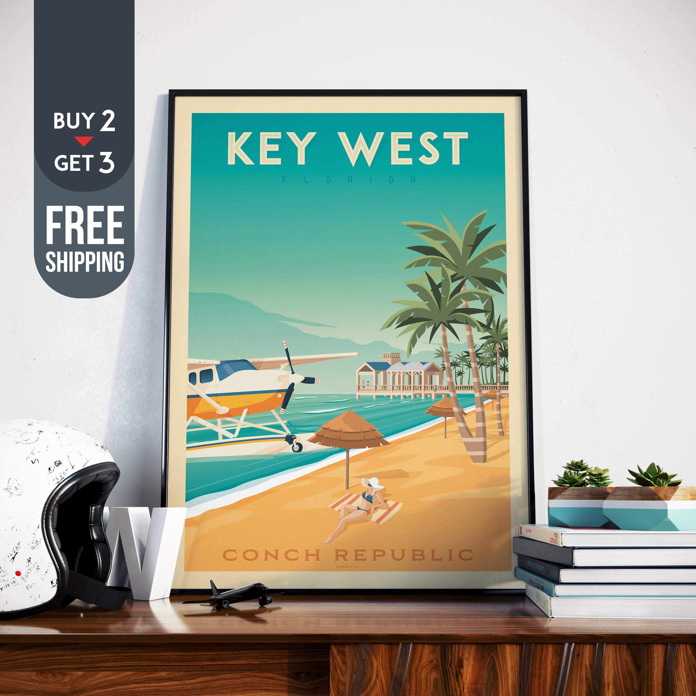 Key West Florida Travel Poster Vintage Keys USA Print Wall Art Beach Home Decor Surf Decoration Tropical