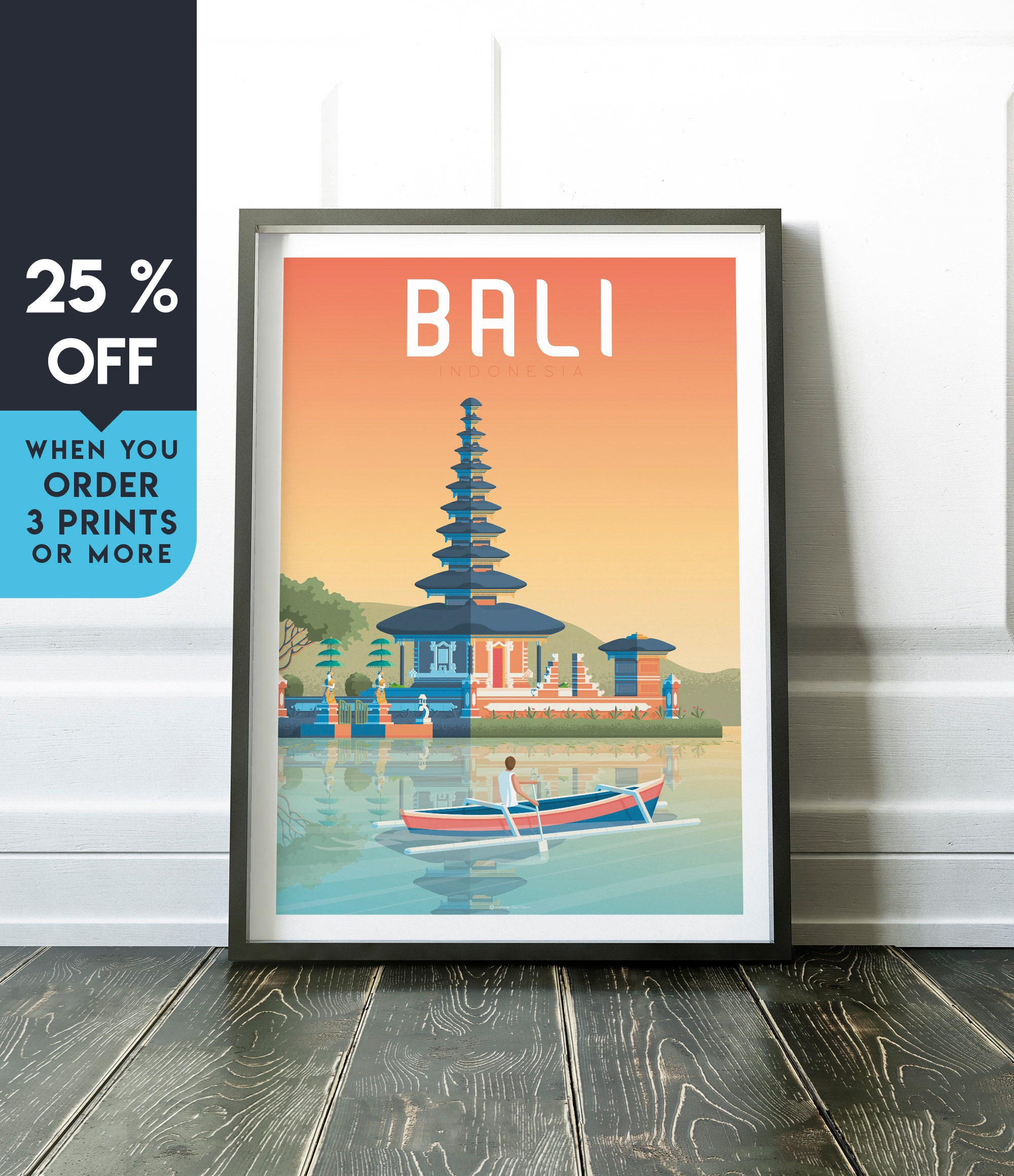Bali Indonesia Vintage Travel Poster Wall Art Print