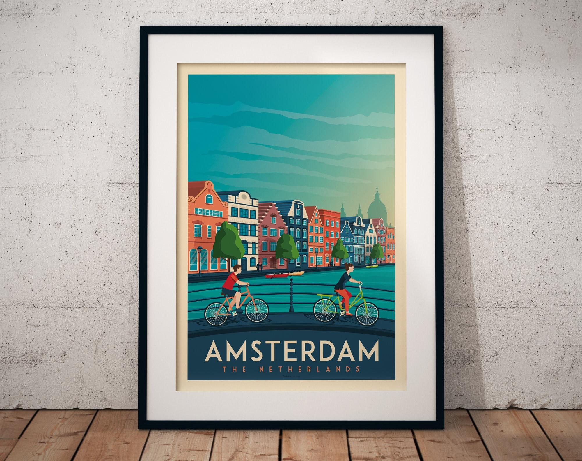 A4,A3,A2,A1 Vintage Travel Poster AMSTERDAM Home Wall Art Print