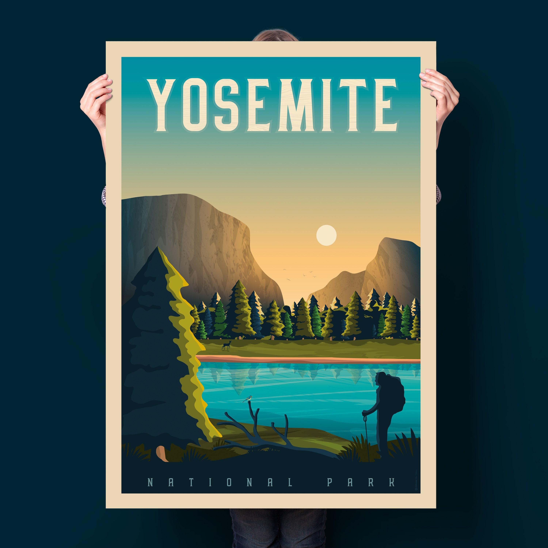 Cheap Posters Yosemite United Air Lines Vintage Travel Poster: Yosemite National Park Print