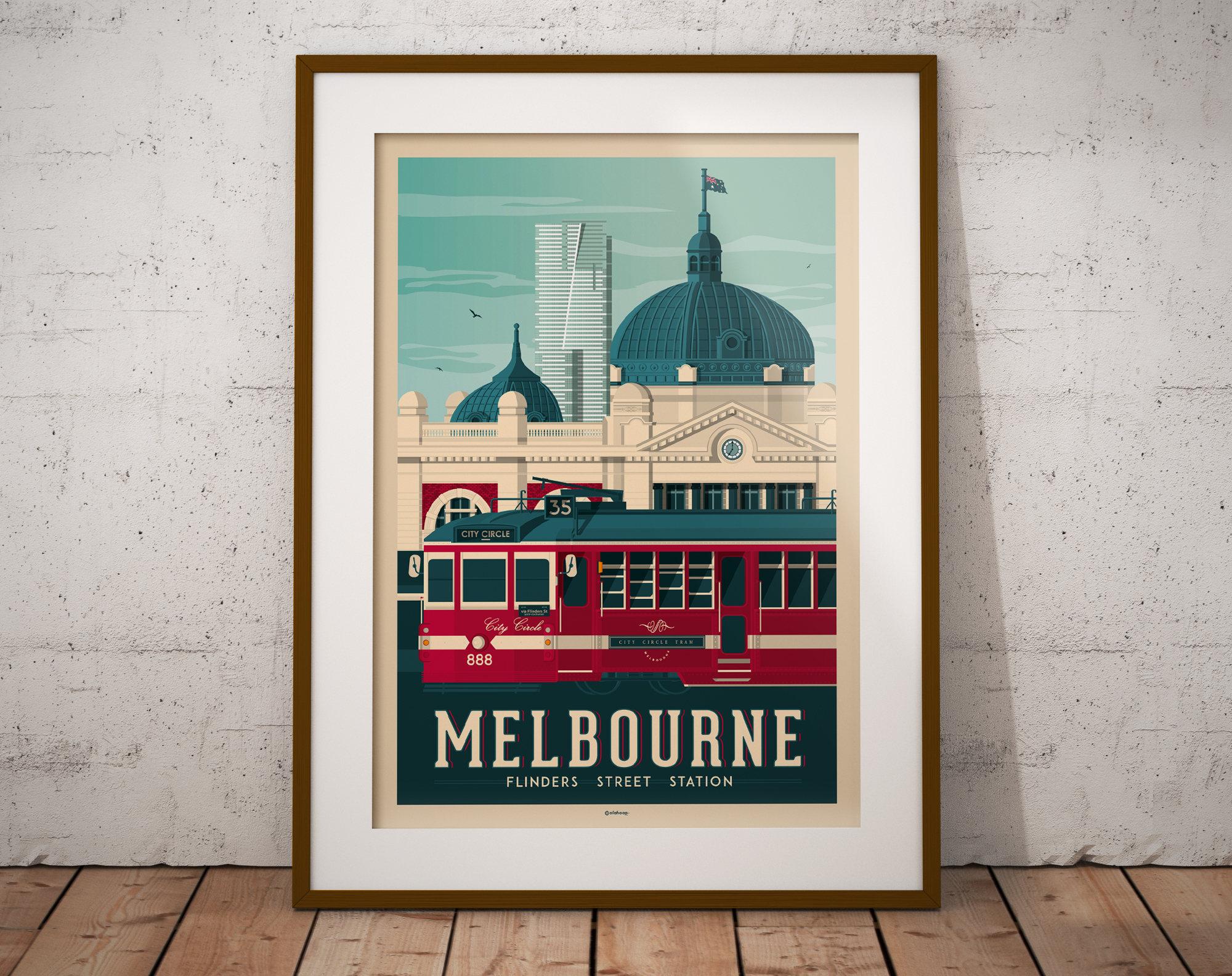 melbourne australia print  vintage travel poster  vintage