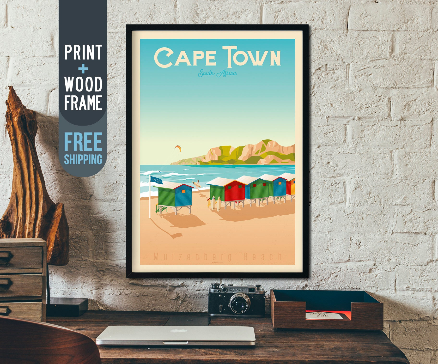 Cape Town Vintage Travel Poster Cape Town South Africa Framed