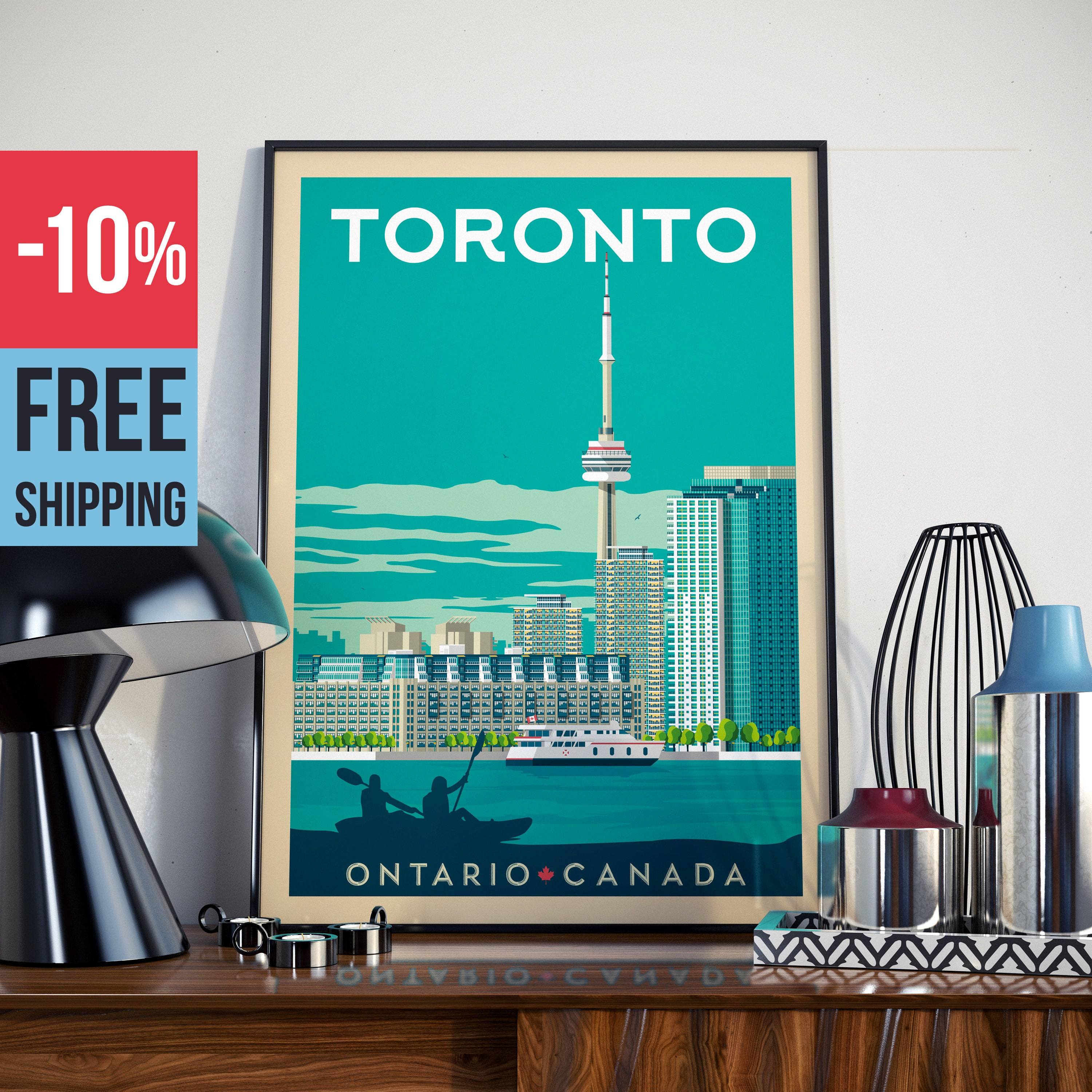 Toronto Canada - Vintage Travel Poster, vintage print, wall art ...