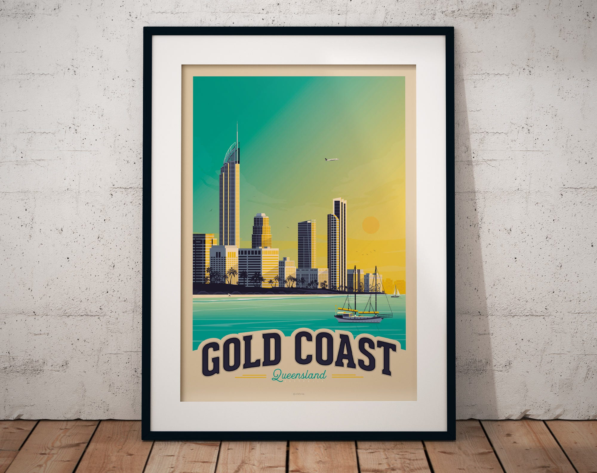 Gold coast australia print australia vintage travel poster art print wall art home decoration wall decoration gift idea beach skyline