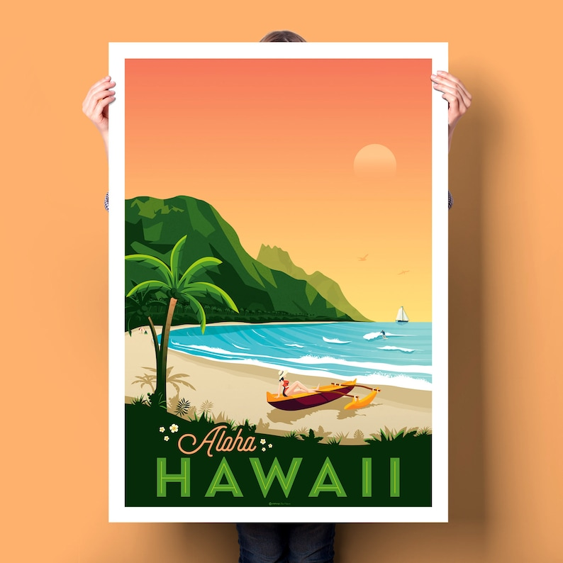 Lettered Hawaii print in orange tones with green and blue accents