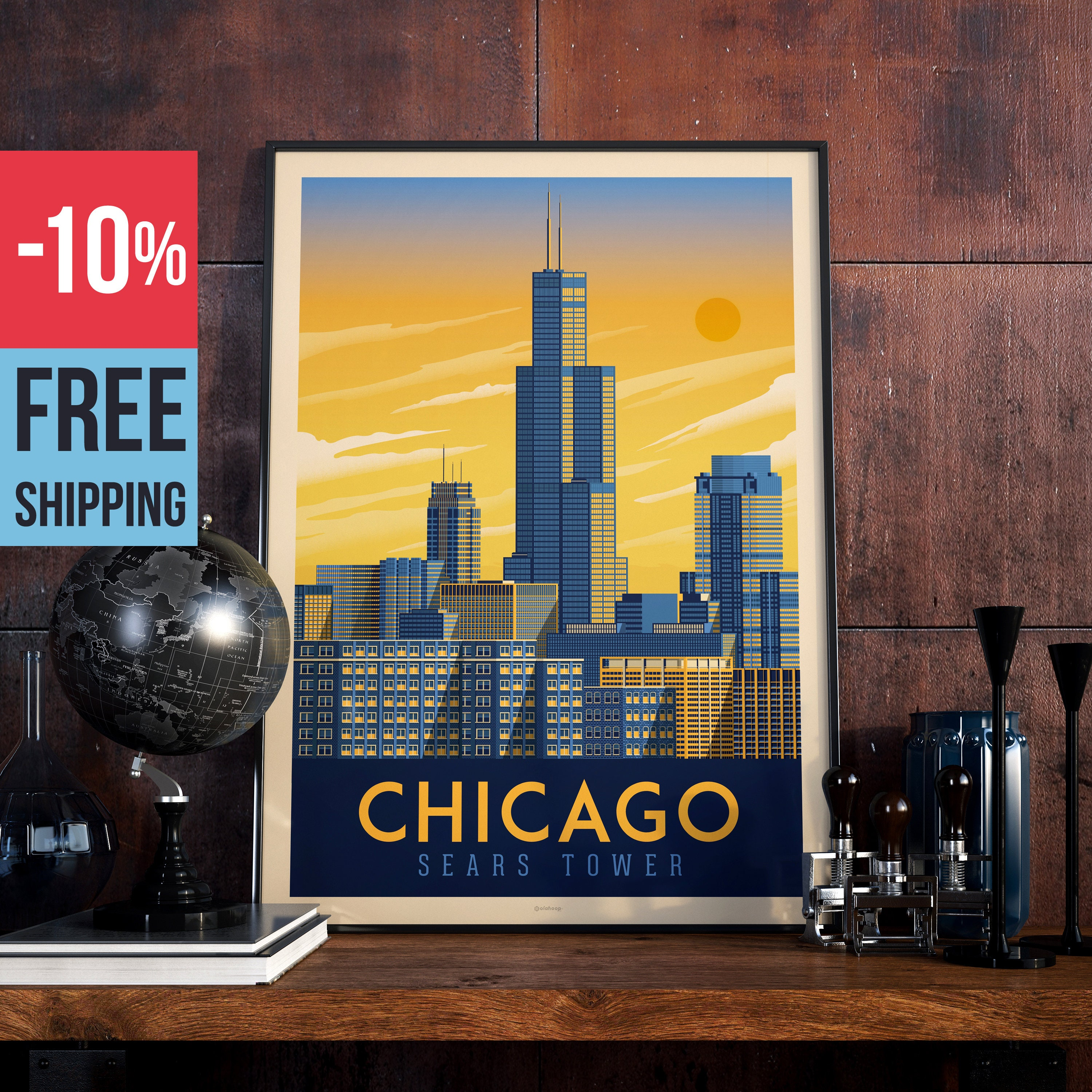 Chicago - Sears Tower USA Vintage Travel Poster, vintage print, wall ...