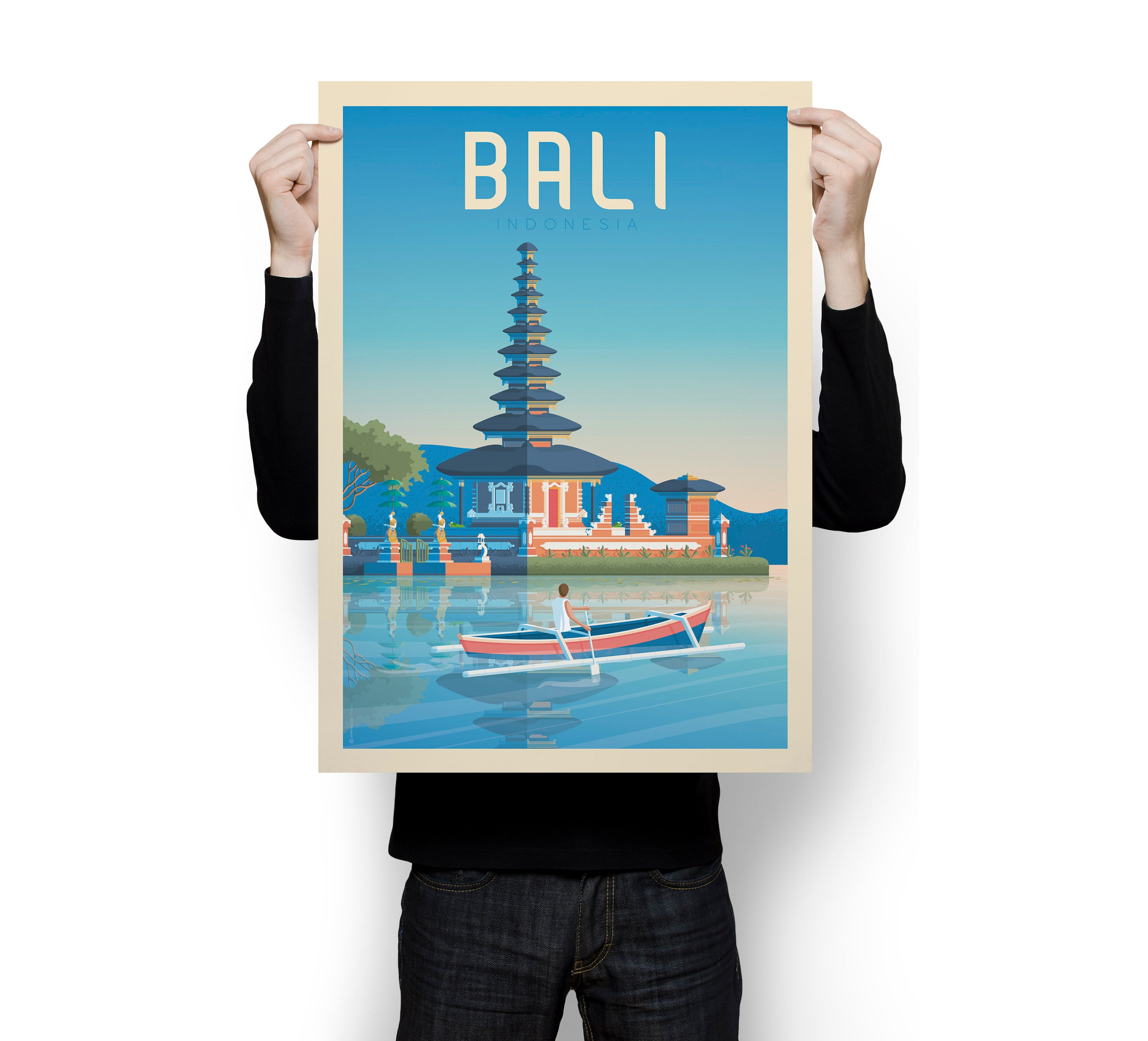 Bali Indonesia Asia Vintage Travel Poster Wall Art Print