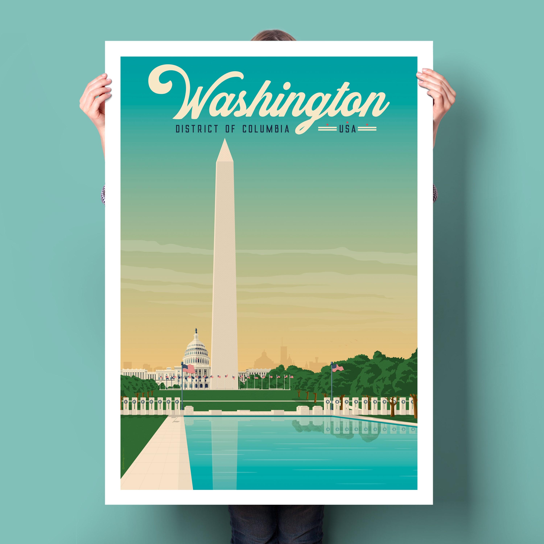 Washington DC USA Vintage Travel Poster, Washington DC print, usa ...