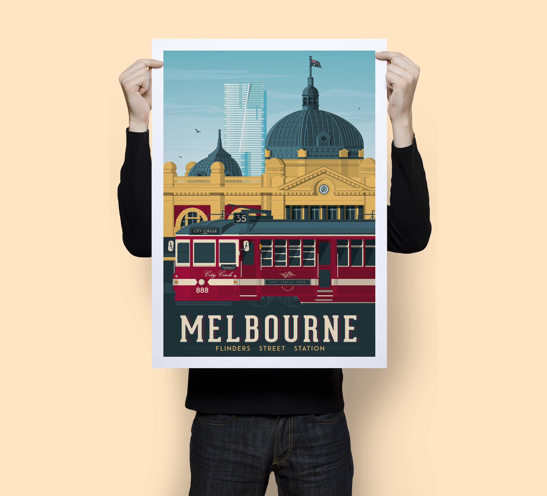 Melbourne Australia Vintage Travel Poster, Melbourne