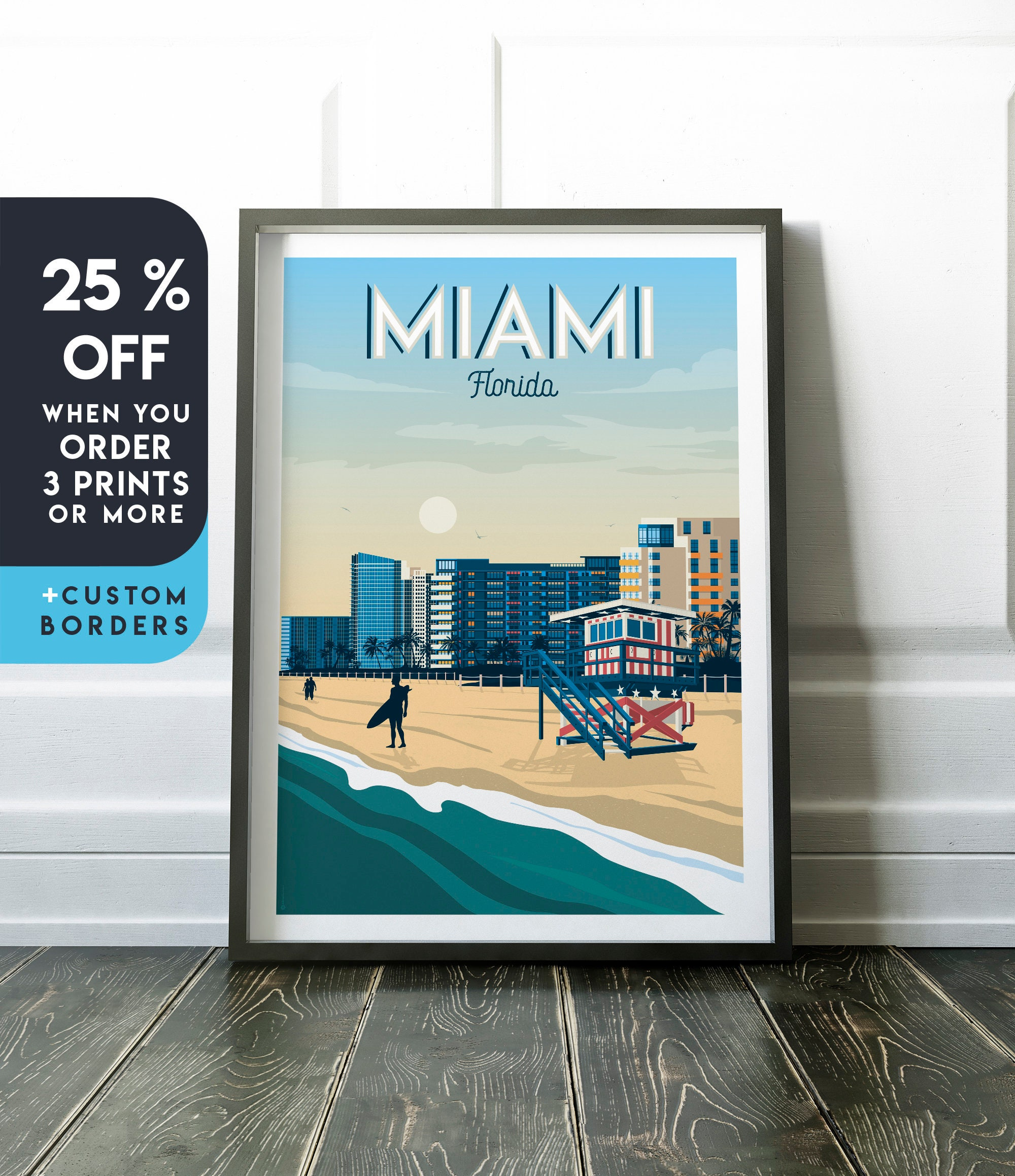 Miami Florida Air United States America Vintage Travel Advertisement Art Poster