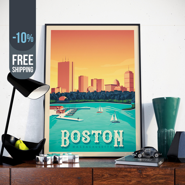 Boston Massachusetts Usa Travel Poster Boston Vintage Print Boston