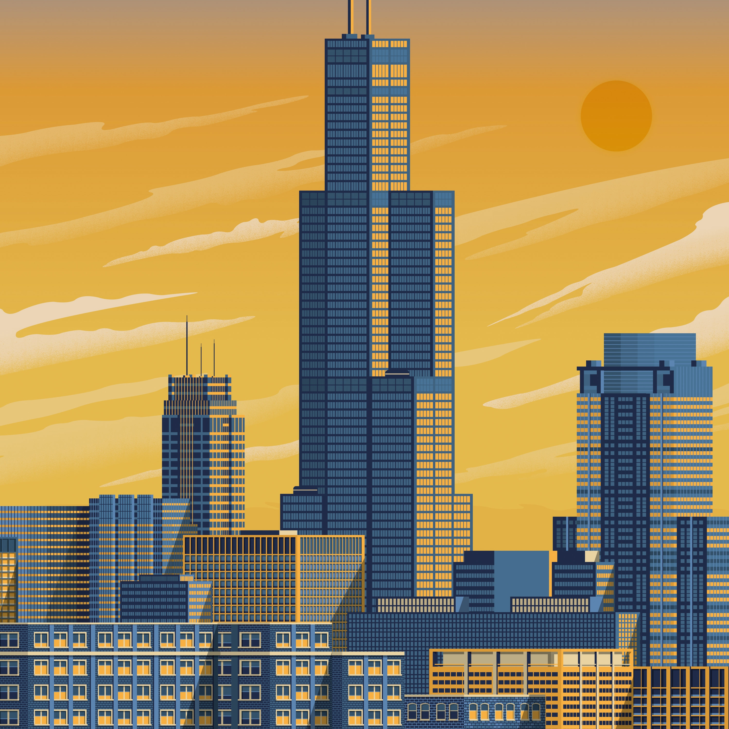 Chicago Home Decor Stores: Chicago Sears Tower Travel Poster,Chicago Sears Tower